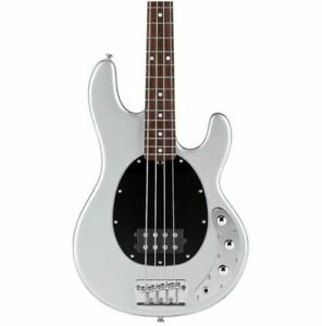 Sterling by Music Man RAY34CA Classic Electric Bass Guitar Silver Metallic