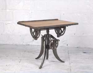 """35"""" L Old Mill Office Desk Reclaimed Hardwood Recycled Cast Iron Hand Crank Base"""