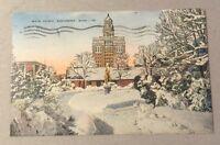 MAYO CLINIC, Rochester MN/Minn. vintage linen postcard c.1944 - snowy scene