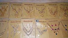 Joblot 12 pz Diamante Set-Collana e Orecchini nuziale Prom all' ingrosso Lotto E1