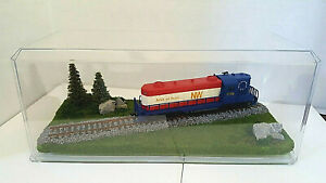 """HO SCALE ~ ACRYLIC TRAIN DISPLAY CASE ~ 13"""" SINGLE TRACK ~NATURAL LANDSCAPING"""