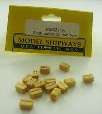 """Model Shipways Fittings Ms 0311X Boxwd Dbl Blocks 1/4"""" (7Mm) 30 Per Pk"""