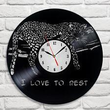 LEOPARD I Love To Rest Design Vinyle Horloge Home Decor Art Cadeau Bureau Shop