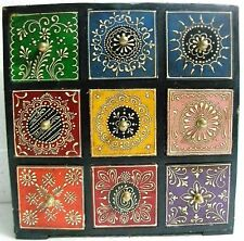 Wooden Drawers Box Embossed Painting Handcrafted 9 drawer Box Collectible Art