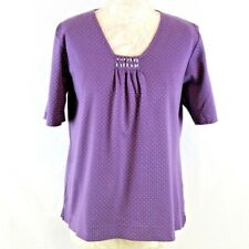 Cotswold Collection Women Polka Dot Top Medium Purple Swing Short Sleeve Cotton