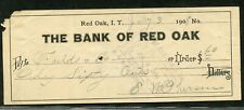 US BANK OF RED OAK OF RED OAK  INDIAN TERRITORY, CANCELLED CHECK 7/3/1908
