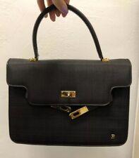 BALLY Black Leather + Horse Hair KELLY Bag Vintage Authentic Rare