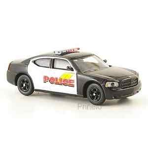 Ricko 38268 1/87 Ho Dodge Charger Black White Police USA Car Miniature H0