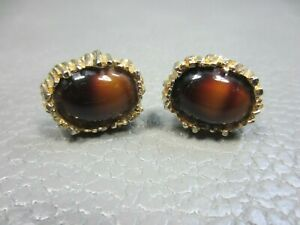 Vintage Brown Agate Yellow Gold Plated Cuff Links