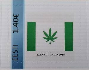 Estonia stamp Kanepi Vald 2018. Value 1.40. Flag with cannabis leaf.