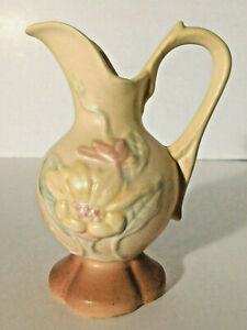 """Vtg Hull Pitcher Ewer Vase Creamer with Magnolia Floral Pattern #14  4 3/4"""" MINT"""