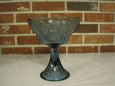VINTAGE BLUE HARVEST GRAPE INDIANA CARNIVAL GLASS COMPOTE CANDY DISH