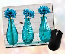 Flower Mouse Pad • Trio Vase Textures Wood Blue Pretty Gift Decor Desk Accessory