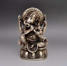 Tibet Tibetan Buddhism Silver Ganapati Ganesh Lord Elephant Buddha Statue e01