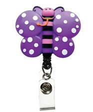 ID Tag Clip Holder Retractable Purple Pink Butterfly Medical Badge Deluxe 3D New