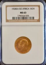 1928 SA Gold Sovereign NGC MS63 King George V. South Africa Sov Pretoria mint