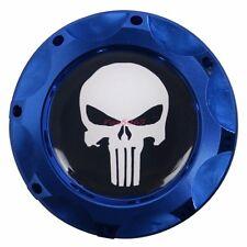 Engine Oil Fuel Filler Billet Cap Tank Cover Billet Aluminum Blue Punisher Skull
