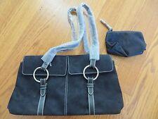 ESTEE LAUDER Black Faux Suede Handbag Purse 2 Piece Set NWOT