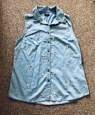 Crystal Sparkly Sleeveless Demin Jacket Shirt! Festival!! Size 10