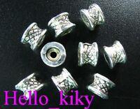 120PCS Tibetan silver streaky tie barrel spacers A673