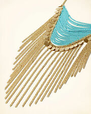 Hollister Statement necklace LADIES GIRLS Jewellery golden/turquoise rrp £19
