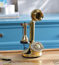 ANTIQUE VINTAGE LOOK NEW BRASS CANDLE STICK WORKING TELEPHONE ROTARY DIAL CLASSY