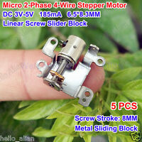 5PCS DC 3V-5V Micro 2-Phase 4-Wire Stepper Motor Linear Lead Screw Slider Nut