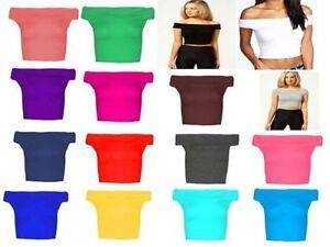 Womens Bardot Sleeveless Ladies Off Shoulder Crop Top Short Vest T Shirt Plus