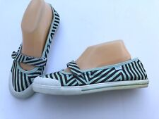 VANS Women's Size 9 Euro 40 Aqua Green Brown Stripe GISELE Canvas Ballet Flats