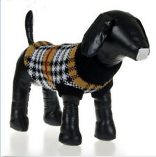 Pet Dog Cat Puppy Clothes Black White Plaid Knitted Jumper Sweater XS S M L XL