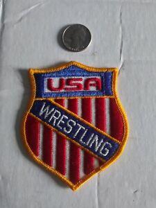 USA WRESTLING Patch vintage rare flag red white blue