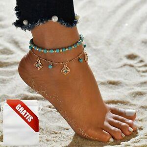 Fußkettchen Damen Türkis Perlen Gold Edel Diamanten Fußkette Fusskette Geschenk