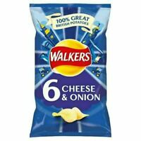 3x Walkers 25g Crisps - Cheese/Onion, Pack of 6