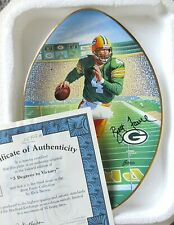 """BRETT FAVRE COLLECTORS PLATE """"3 DEGREES TO VICTORY"""" W/COA BRADEX PACKERS NFL"""