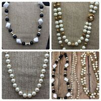 Lot of 3 Vintage Beaded Collar Necklaces White Faux Pearls Black & Gold Beads