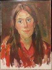 """Vtg NICOLA BLAZEV (1913-1974) Portrait of a Woman in Red Oil on Canvas 16"""" x 12"""""""