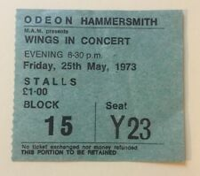 Beatles Paul McCartney Wings 1973 Concert Ticket London Hammersmith Rare