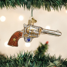 Western Revolver Gun Glass Ornament Old World Christmas NEW IN BOX