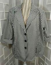 Sz 24W Tan Jay Black & White Checker 3/4 Sleeve Button Down Wind Breaker Jacket