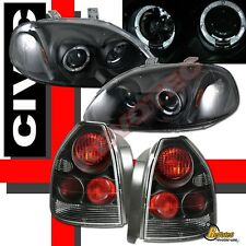 96 97 98 Honda Civic 3Dr Hatchback Halo Projector Headlights & Tail Lights Black