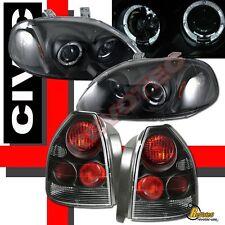 96 97 98 Honda Civic 3Dr Hatchback Halo Projector Headlights & Tail Lights Black