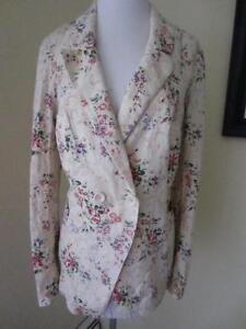 FREE PEOPLE Blazer Floral Print Cotton Linen Jacket Tan Romantic Hippy Size S