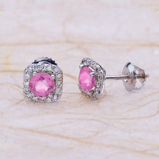 1.50ctw Round Cut Pink Sapphire Halo Earrings in 14K White Gold