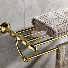 Solid Brass Gold Bathroom Accessories Toilet Towel Shelf Rack Holder Wall Mount