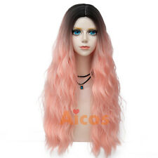 70cm Long Curly Hot Pink Costume Wigs Women Lolita Party Cosplay Wig Synthetic