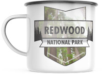 Redwood California National Park 12 OZ Enamel Mug Campfire Travel Souvenir