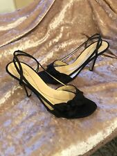 7410d8f391ff Kate Spade Size 8.5 Black Satin Slingback Heels Open Toe Bow Sandals