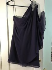 Chiffon Dress Purple Boutique Women's Beaded Draped One Shoulder size 8