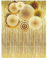 Party Supplies Decorations Set includes Gold Paper Fans & Foil Fringe Curtain