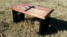 Hand Made Meditation Bench with Hand Painted Christian Cross And Cross Cut Legs